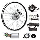 SainSpeed Electric Bicycle Motor Conversion Kit with Hub Motor with wheel, Charger, Controller, Speed Throttle, Brake Lever, Hand Grip, Pedal Assistant System, Power Indicator, Power Cable, Battery Bag (24 Front)