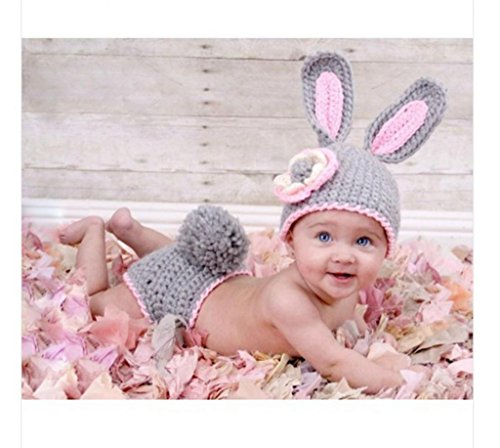 Soyagift Grey Rabbit Infant Clothes Baby Take Photo Props Crochet (Bb006) front-185569