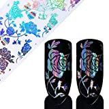 Tempea Metallic retro rainbow chameleon glitter chrome NAIL FOIL TRANSFER psychedelic mirror effect silver nail decals paisley floral rose petal holographic unicorn nail art (1)