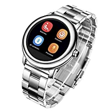 buy Gbdb® Round Dial Heartrate Monitor Ip68 Waterproof Replace Leather Strap For Android Ios Smart Watchf Replace Band For Android And Ios Smartphone Bluetooth 4.0+3.0 Smart Watch (Silver)