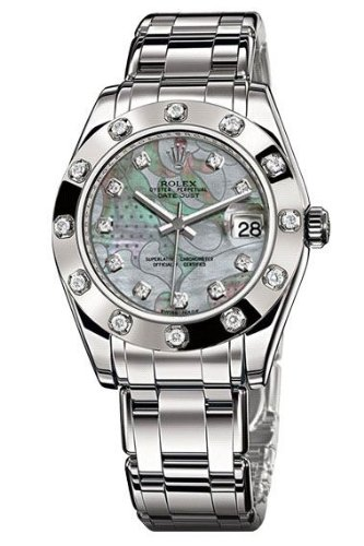 Rolex Datejust 34mm Special Edition Watch, 12 Diamond Bezel, White Goldust Diamond Dial