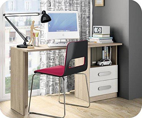 Schreibtisch Planet weiß und Eiche Farbe