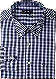 Nautica Men's Gingham Poplin Dress Shirt, Blue, 15.5×34/35 Reviews