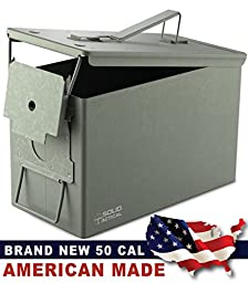 Solid Tactical New 50 Cal Metal Ammo Can in OD Green, Military and Army M2A1 All-Metal Box for Ammunition and Storage, Made in the USA