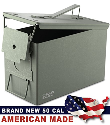 New Solid Tactical 50 Cal Metal Ammo Can Steel Construction - Made in the USA - Military and Army M2A1 All-Metal Box for Ammunition and Storage, (Ammo Cans Military compare prices)