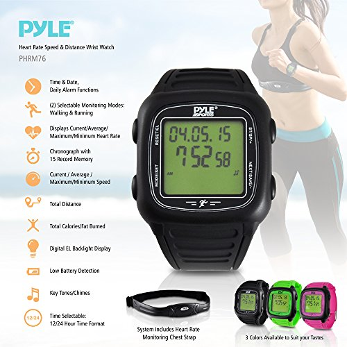 Pyle Multi-Function Speed and Distance Digital Wrist Watch/Pedometer/Calorie Counter Heart Rate Monitor pyle h men of iron