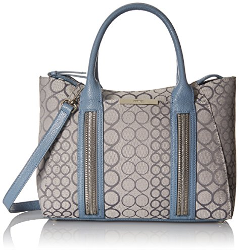 Nine West Track-Tion Action Satchel Top Handle Bag, Fog/Charcoal/Blue Sky, One Size