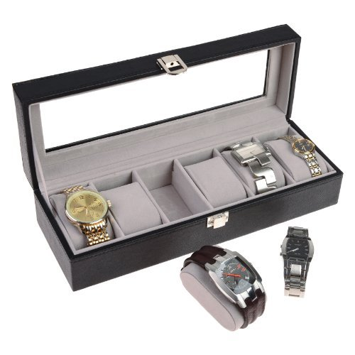 Luxury Gifts Inc Leather Watch Box for 6 Watches Black Finish XL Extra Large Compartments Soft Cushions and Window and Lock