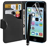 Connect Zone® Black PU Leather Wallet Case For iPhone 5C + Screen Protector + Polishing Cloth & Tall Stylus