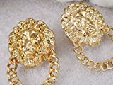 Spicy Key Golden Tone Door Knocker Fierce Lion Head Chain Fancy Earrings