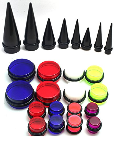 24pc 00g 7/16 1/2 9/16 5/8 3/4 7/8 1 Inch Gauges Ear Stretching Kit Black Red Blue White Purple Plus Instructions (1 Inch Plugs For Ears compare prices)