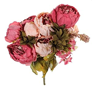 KINGSO 1 Bouquets Artificial Peony Silk Flowers Home