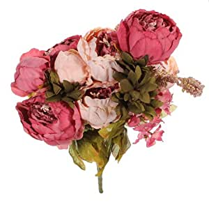 Buy 1 bouquets artificial peony silk flowers home wedding for Artificial flowers for home decoration india