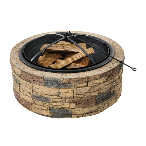 Sun Joe SJFP35-STN Cast Stone Fire Pit, 35-Inch (Outdoor Firepits Wood Burning compare prices)