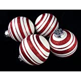 """4ct Peppermint Twist Candy Cane Shatterproof Christmas Ball Ornaments 3"""" (75mm)"""