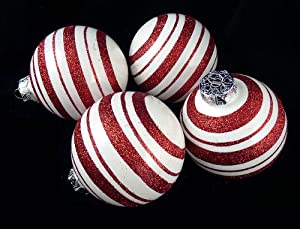 """Amazon.com: 4ct Peppermint Twist Candy Cane Shatterproof Christmas Ball Ornaments 3"""" (75mm ..."""
