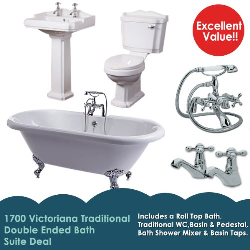 Complete Designer Bathroom Suite - Luxury Freestanding Double Ended 1700 Bathtub with Metal Feet, Ceramic Traditional WC Pan Cistern Soft Close Seat and 2 Tap Hole Pedestal Hand Wash Sink - Basin and Bath Shower Mixer Chrome Taps - Tub maufactured from St
