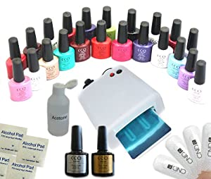 CCO UV NAIL GEL Soak Off Professional Polish coat 36W light Kit Lamp set included 10 Shellac CND Wraps, Top Coat, Base Coat, Cleanser, Remover and 4 Colours