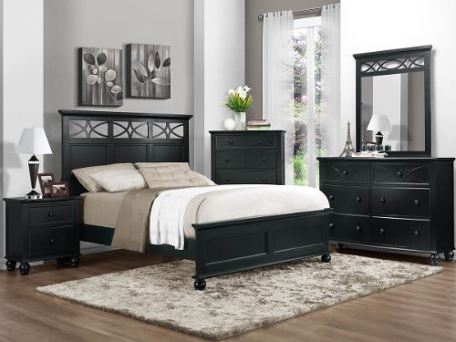 Sanibel 5 Pc Queen Bedroom Set With 2 Nightstand By Home Elegance In Black front-1010652