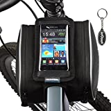 ROSWHEEL フレームバッグ/自転車バッグ(マウンテンバイク/ママチャリ/折りたたみ 自転車/電気自転車に適用 ) スマホ/GPSナビゲーションバッグ iPhone/ Samsung/ HTC /Nokia /Sony/ LG等多くのスマートホン(最大5.5 インチ)に対応のフロントトップチューブバッグ 1.8L 12813