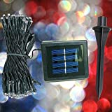 DeVida Patriotic Christmas Lights - Outdoor Holiday Decorations - Waterproof Red White Blue Solar String - Extra Long 100 Mini LED Strand Set For Patio, Tree Trunk Wrap, Shrubs, Home Exterior Decor
