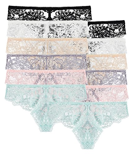 12 Pack: Floral Lace Stretchy Bikini Panties (Small)