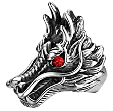 buy Beydodo Stainless Steel Men Ring Dragon Head Engraved Vintage, Round Red Crystal,Size 9