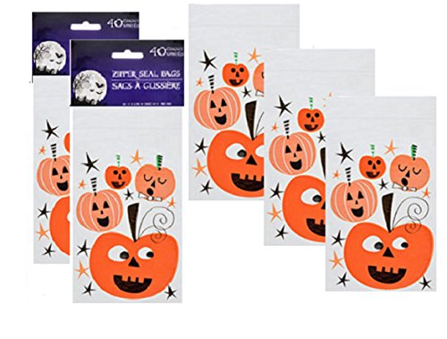 Halloween Bags Candy Favor 80 Count Goodie Packs Zipper Seal (Homemade Halloween Candy For Kids)