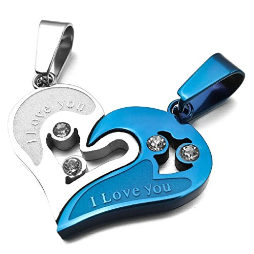 Stainless Steel Men Women Pendant Necklace - His and Hers Set Heart Pendant Love Valentine Blue - Adisaer