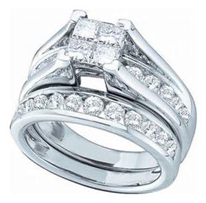Pricegems 14K White Gold Ladies Princess Diamond Invisible Set Quad Bridge Style Bridal Ring Size: 8.25)