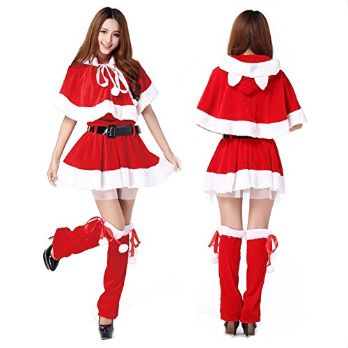 Harvest Red Womens's Christmas Uniform Outfit One Set