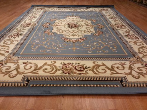 D616 Classic French Aubusson Traditional Medallion Blue 10x13 Rug