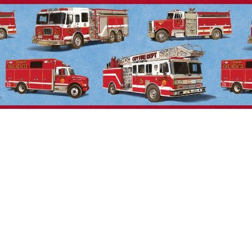 Firetrucks Wallpaper Border - Blue Background (Truck Border compare prices)