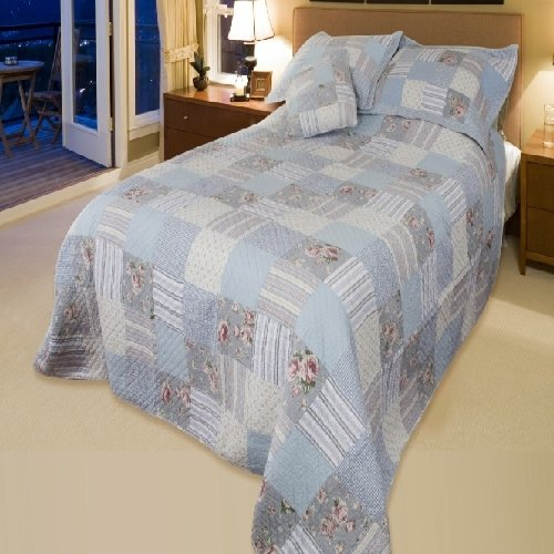 Country Blue Patchwork King Bedspread Quilt