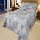 Country Blue Patchwork Double Bedspread Quiltby The Home Needs Shop