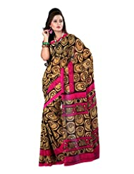 Fabdeal Indian Wear Brown Georgette Printed saree-QSJSR9085BOC