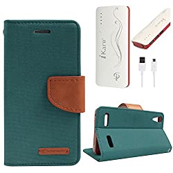 DMG Premium Canvas Diary Wallet Folio Book Cover for Lenovo A6000 (Green) + 10000 mAh Power Bank