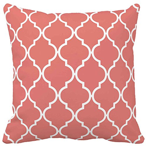 Sweetdreams Coral Quatrefoil Home Decorative Accent Pillows For Couch / Sofa Modern Cute Throw Pillow - Set Of 2 (Coral, 16X16 Inches) front-320766