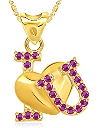 VK Jewels I Love U Heart Valentine Gold And Rhodium Plated Alloy Pendant With Chain For Women & Girls Made With...