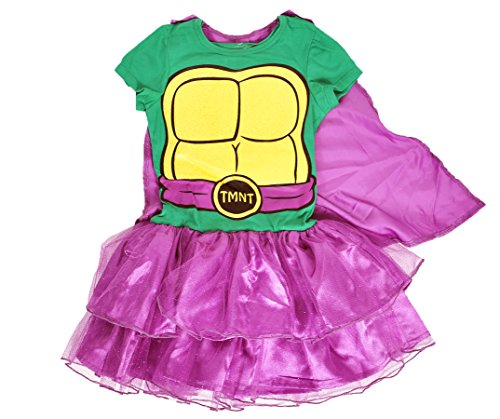 Girls Superhero Ninja Turtles Caped Tutu Costume Dress (Ninja Turtles, Large 10/12) (Girls Ninja Turtle Costume compare prices)