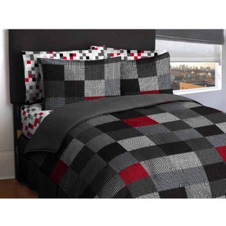 American Original Geo Blocks Bed in a Bag Bedding Comforter Set (Full, Gray)