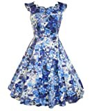 H&R London 50's Summer Floral Scallop Dress Blue