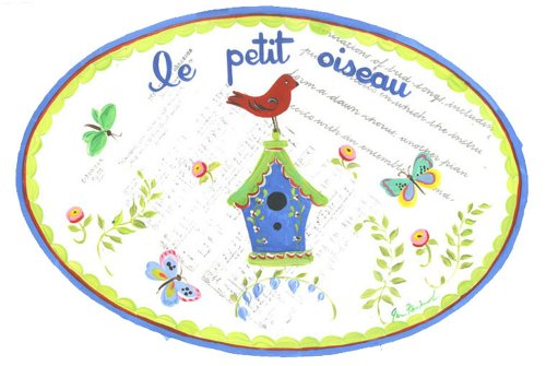 The Kids Room by Stupell Le Petit Oiseau-The Little Bird on a Birdhouse with Butterflies Oval Wall Plaque