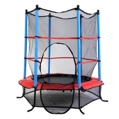 Youth-Jumping-Round-Trampoline-55-Exercise-W-Safety-Pad-Enclosure-Combo-Kids