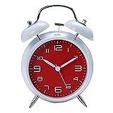 "Innolife 4"" Quiet Non-ticking Silent Quartz Analog Retro Vintage bedside Twin Bell Alarm Clock With Loud Alarm and Nightlight (Retro Red)"