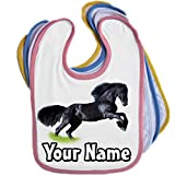 Black Horse Pony Personalised Baby Bib Blue Pink Yellow or White