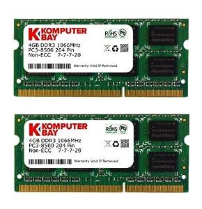 Komputerbay 8GB (2x 4GB) 204 Pin 1066MHz PC3-8500 DDR3 SODIMM Laptop Notebook Memory for Apple Mac Mini