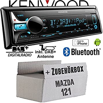 Mazda 121 - Kenwood KDC-X7000DAB - Bluetooth | CD | MP3 | USB | DAB+ Digitalradio Autoradio inkl. DAB Antenne - Einbauset