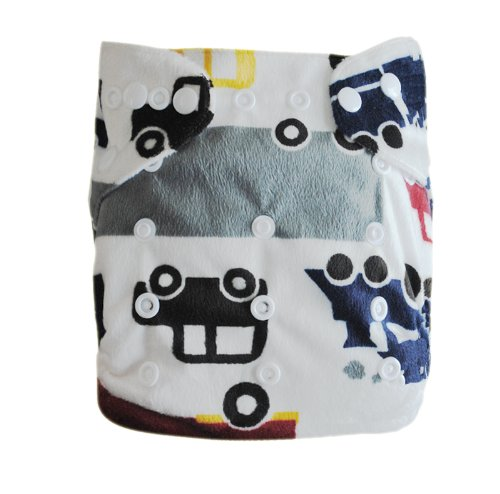 Alva Baby One Size Washable Reusable Minky Cloth Diaper (Car Print) with 2 Inserts Microfiber M14 - 1