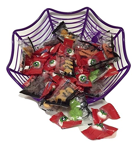 Halloween Spiderweb Basket of Bubble Gum Eyeballs and Gummy Zombie Candy Bundle - One Purple Plastic Spiderweb Basket, One Bag of Bubble Gum Scary Eyeballs, One Bag of Gummy Zombie (Halloween Candy Baskets)
